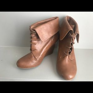 Nine West Georgianal Brown Foldover Wedge Booties